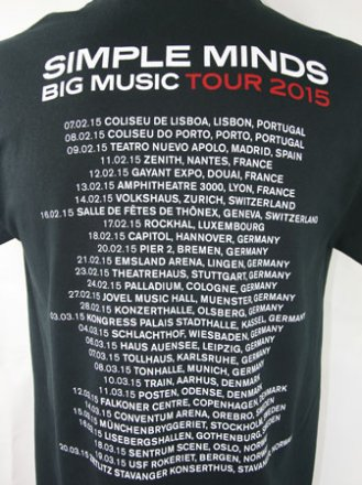 Black Big Music Tour T Shirt with European Spring Tour Date Back Print