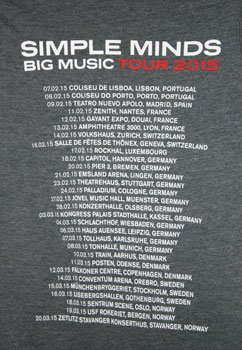 Ladies Big Music T Shirt with European Tour Date Back Print
