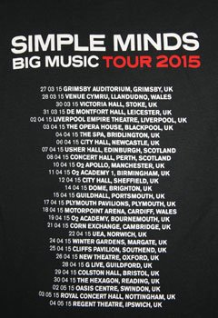 Fitted Black Big Music Tour T Shirt with UK Tour Date Back Print